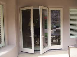 double folding glass doors exterior with wooden frame painted with