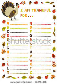 vector illustration thanksgiving abc sheet concept stock vector