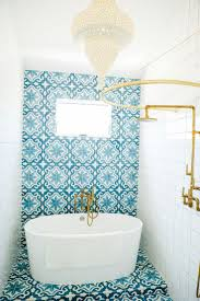 blue u0026 white bathroom tile brass fixtures by leanne ford