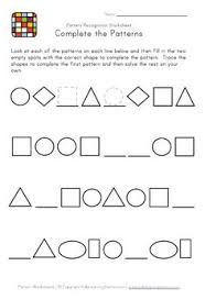 patterns in kindergarten kindergarten geometry patterns worksheet printable things for