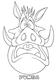 pumba scared the lion king coloring page