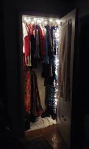 lighting a closet with holiday lights 3 steps