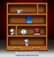wooden bookshelf psd u0026 icons graphicsfuel