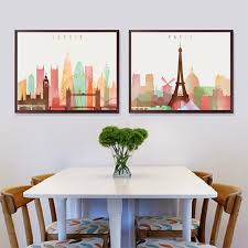 simplicity canvas art print painting of color city new york london