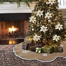 amazon com homeford christmas burlap tree skirt under the tree