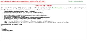 dean of instruction work experience certificate