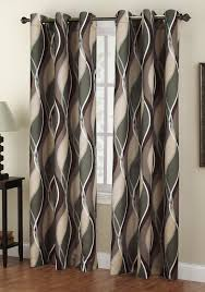 the intersect grommet curtains has a horizontal multi color wave