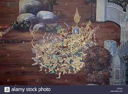 mural painting on the walls of emerald buddha temple in bangkok mural painting on the walls of emerald buddha temple in bangkok thailand stock photo