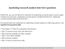 Sample Resume For Research Analyst by Marketing Research Analyst Interview Questions