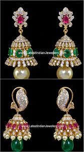 diamond studded colorful diamond studded jhumkas diamond ear rings and