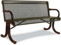 Commercial Outdoor Bench Expanded Metal Park Benches For Sale At Builtrite Bleachers