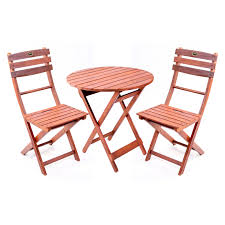 Wood Patio Dining Set - wooden 3 piece bistro set with folding chairs walmart com