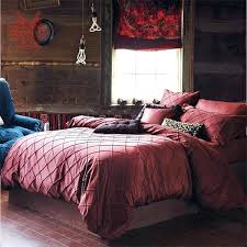 Silk Duvet Set European Dark Red Quilting Tribute Silk Bedding Sets Cotton