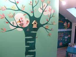 fresque murale chambre fresque murale cléo popote créativ création graphique fresque