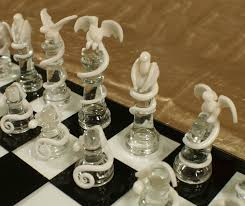 furniture charming dragon chess set with glass checkered board