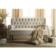 furniture tufted sofa setee with brown curtains and wood console