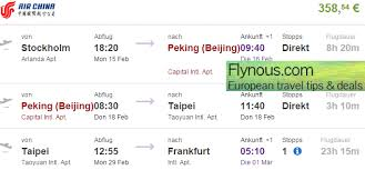 open jaw flights to taiwan china from europe from 358