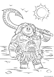 maui from moana cool coloring pages printable
