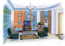 an artist u0027s simple sketch of an interior design of a living room