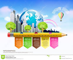 creative ecology concept template with pencil flow chart infogra