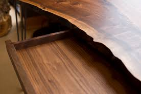 live edge desk with drawers live edge desk with hairpin legs the joinery portland oregon