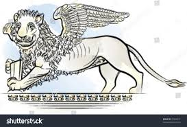 drawing color lion wings symbol venice stock vector 27053011