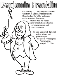 Benjamin Franklin Early Finisher Coloring Page Benjamin Franklin Franklin Coloring Pages