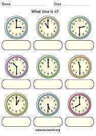worksheet containing 9 analogue clocks showing o u0027clock or half