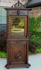 Corner Cabinet Black Antique French Oak Barley Twist Black Forest Corner Cabinet