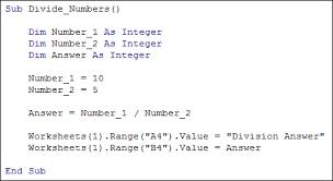 excel vba programming basic mathematical operators