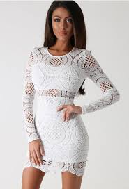 favorite darcy white crochet long sleeve mini dress stylish