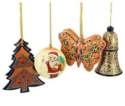 holiday christmas ornaments hand painted ball bell tree and