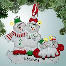 family ornaments snowman sled family 4 personalized free