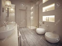 Bathroom With Shelves by Modern Bathroom With Toilet And Bidet With Shelves Above Them