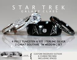 route 66 wedding band trek galaxy class tungsten and 925 sterling silver 2