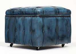 Light Blue Tufted Ottoman Small Blue Leather Storage Ottoman On Wheels Of Outstanding Blue