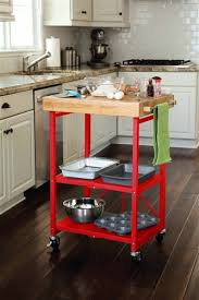 folding kitchen island cart origami folding kitchen island cart red butcher block on marble top