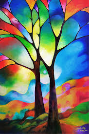 cubism flower painting two trees painting two trees print by sally trace