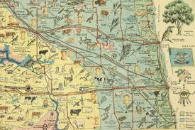 beulah dakota map dakota map with products attractions 1930 s vintage oak
