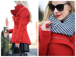 poinsettia red wrap coat houndstooth scarf u0026 leather skater skirt