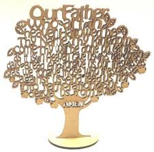lord s prayer laser cut wood tree decoration or ornament
