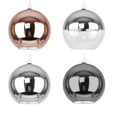 large metallic copper chrome glass globe ceiling pendant light