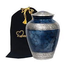 funeral urn memorials4u elite cloud blue and silver cremation urn
