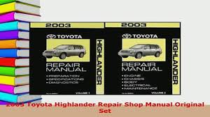 download 2003 toyota highlander repair shop manual original set