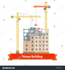 house with tower construction tenement house two tower cranes stock vector