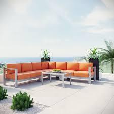 shore 6 piece outdoor patio aluminum sectional sofa set silver