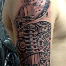big tattoo planet arm biomechanical big tattoo planet