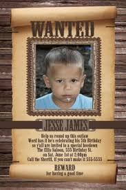 wanted poster child u0027s cowboy birthday invitation