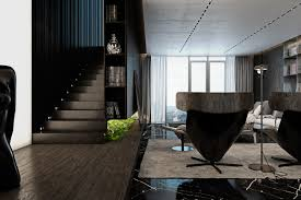 glossy wall cladding and subtle recessed lights brighten the