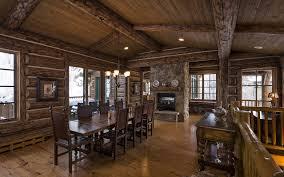 blue sky lodge dinner room luxury home wooden log hd wallpaper
